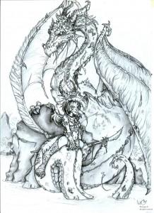 fée féerique dessin dragon guerrière