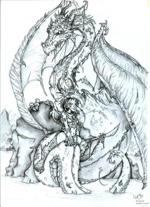La guerri re au dragon - Dessin feerique ...