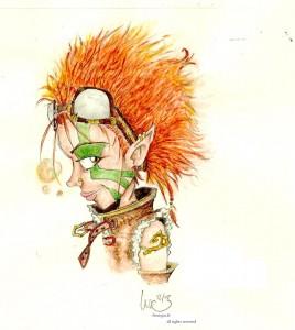 fée féerique dessin aquarelle aviatrice elfe lutin