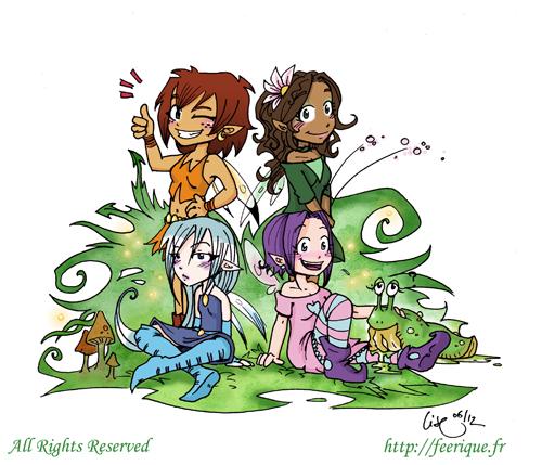 petites fées moderne : naiade dryade sylphide et salamandre féerique en bande dessinée