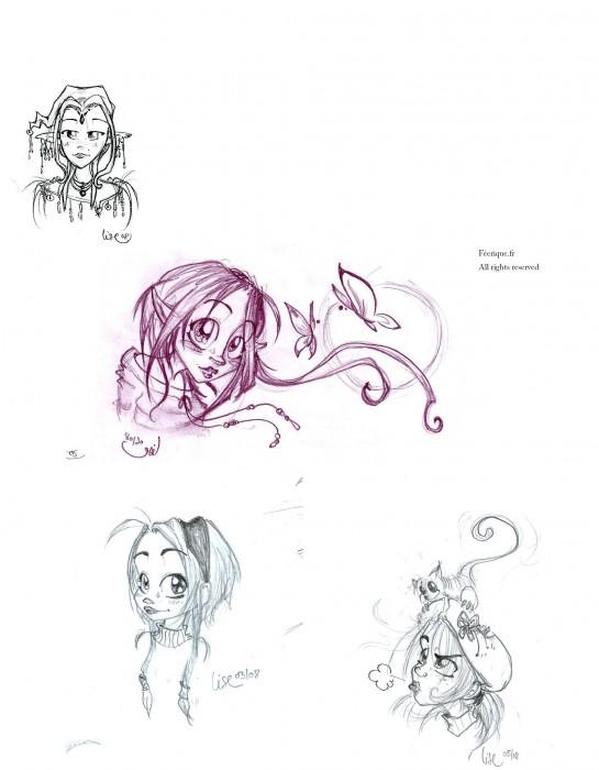 Medley de visages de filles - Manga coloriage elfe ...
