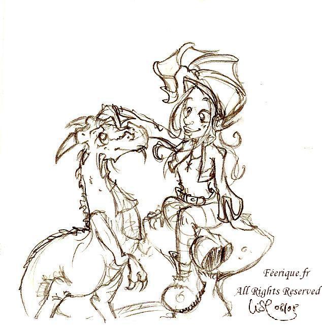 L elfe le dragon et le champignon - Dessin feerique ...
