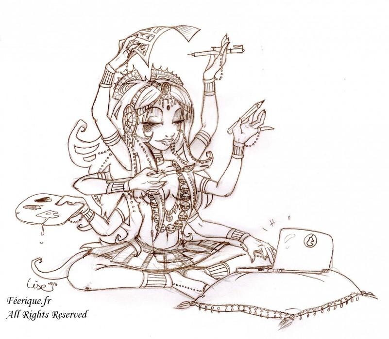Un dessin de la d esse k l en dessinatrice - Dessin feerique ...