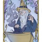 Un enchanteur dans son laboratoire de magie