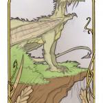 un dragon sur sa falaise au dessus des champs de blé