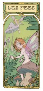 les fées dans la forêt accompagnées de champignons et de fougères