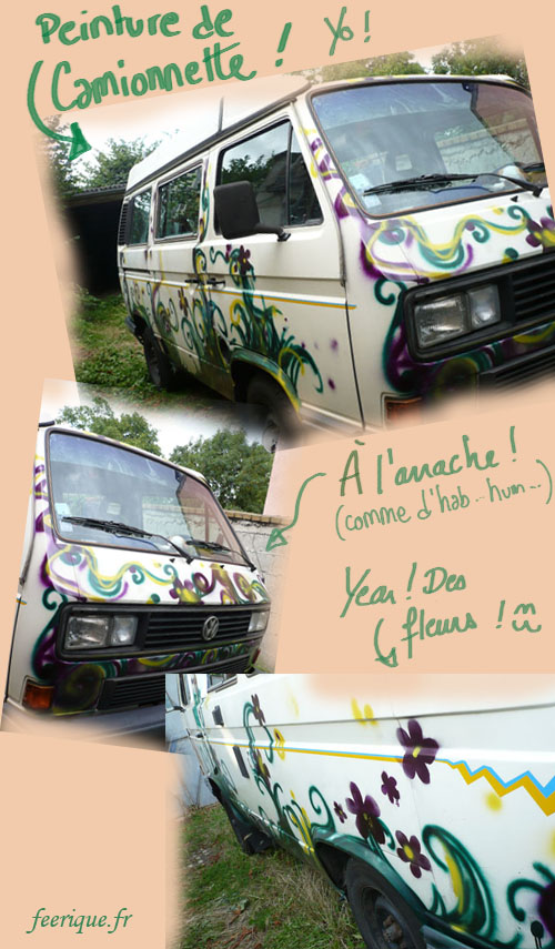 camion tagué de dessins féerique