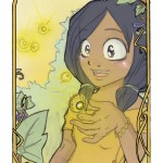 une petite fille entourée de lucioles magiques dans les bois