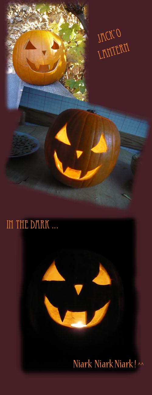 citrouille d'halloween cresée en jack'o lantern