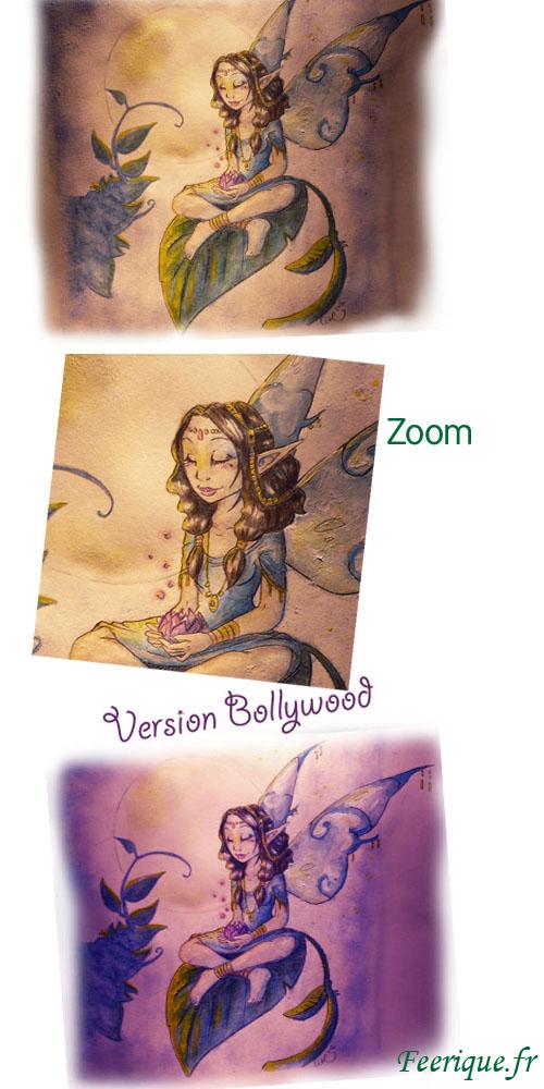 fée hindou en méditation au clair de lune, à l'aquarelle