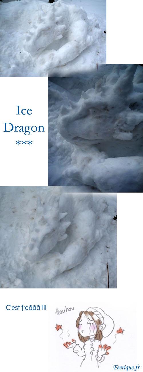 sculpture d'un dragon de neige et de glace