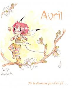 la fée du feu sur une branche de cerisier en fleur