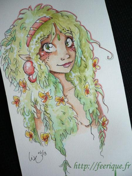 dessin féerique d'une elfe amazone