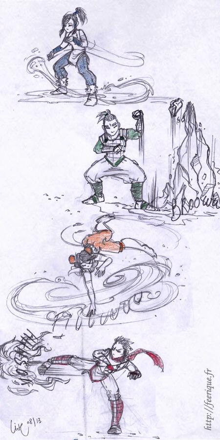 avatar dernier maitre de l'air, légende de korra, maitrise des éléments