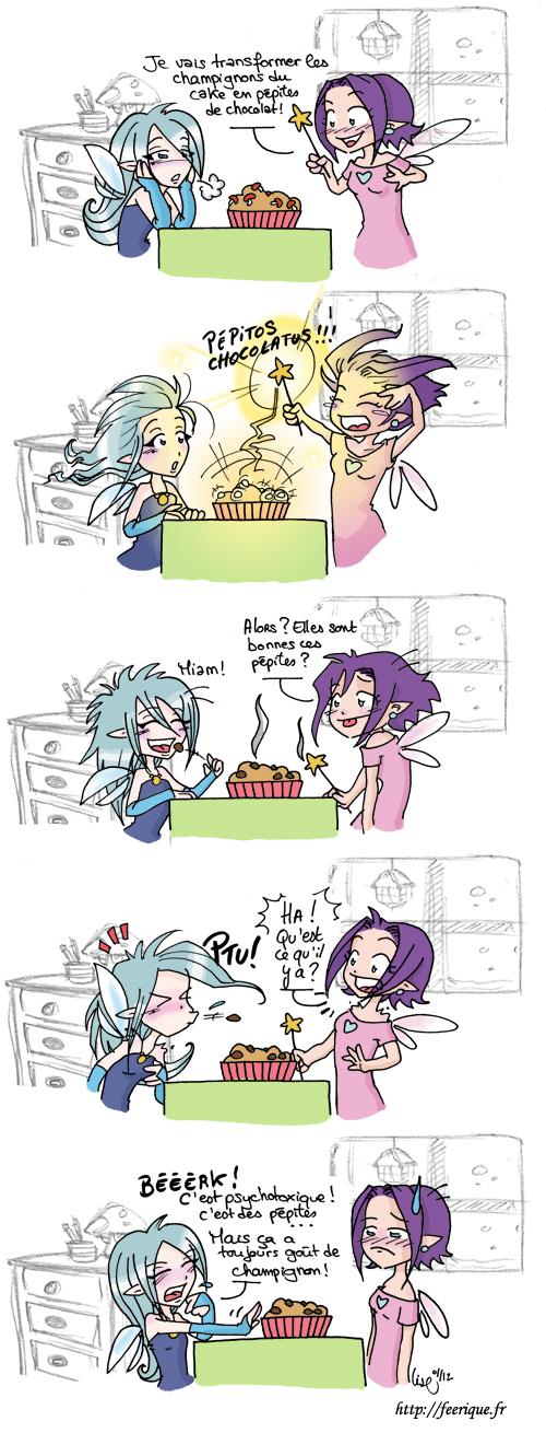 BD des petites fées webcomic cake au champignon chocolat