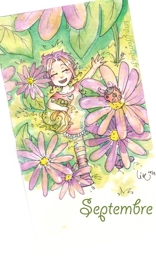calendrier septembre fée sylphide feerique au soleil