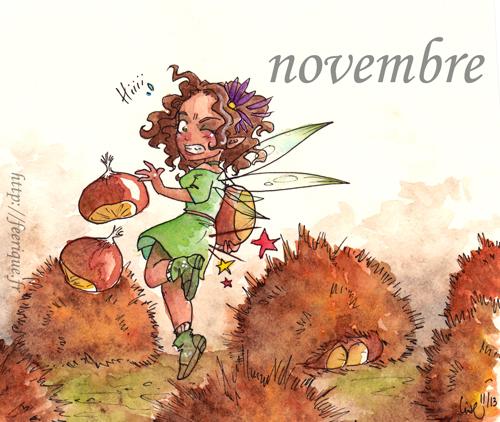 fée du mois de novembre féerique, châtaignes dans la forêt