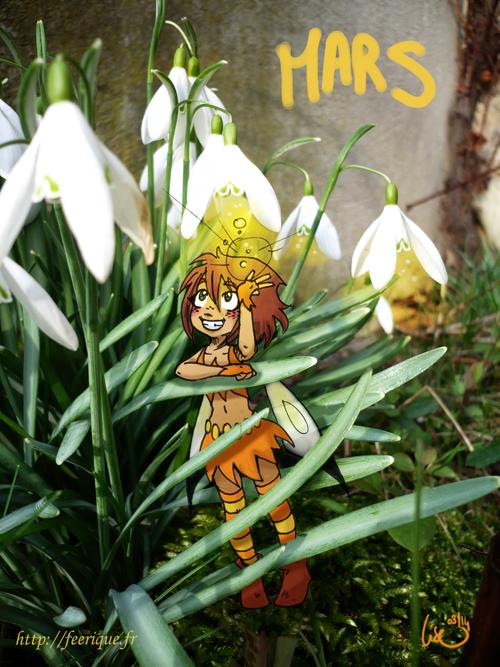 mars calendrier féerique fée fleur du printemps luciole magie