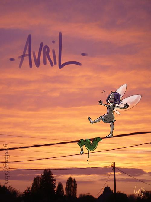 coucher de soleil féerique mois d'avril des petites fées et limaces funambule