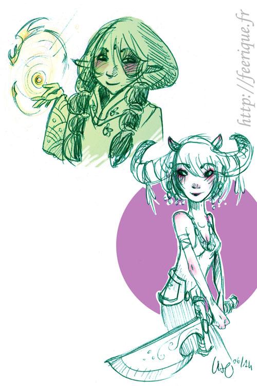 dessin féerique au stylo bille vert, elfe et dragon magique et faune