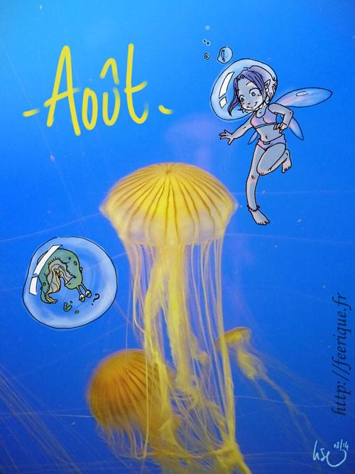 calendrier des fées vacances d'été féerique à la mer avec les méduses