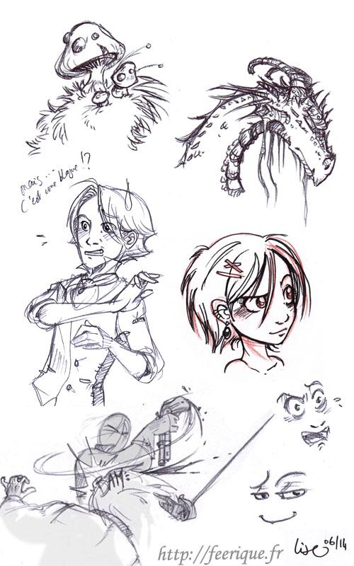 dessins féerique de dragons, fées et champignons