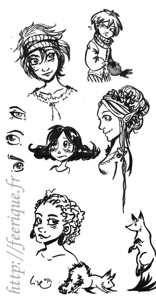 dessin encre bruch pen fantasy féerique