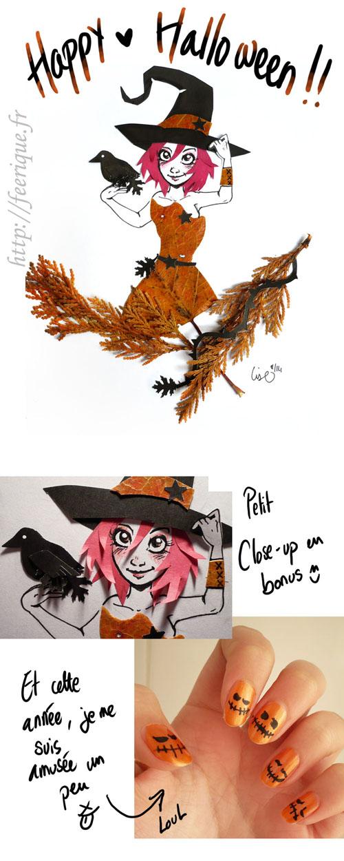 féerique halloween 2014 sorcière en feuilles d'automne collage artistique