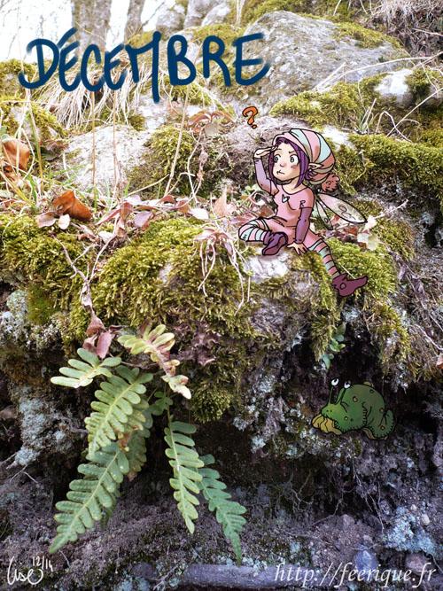 dans la forêt féerique d'hiver une petite fée cherche sa limace